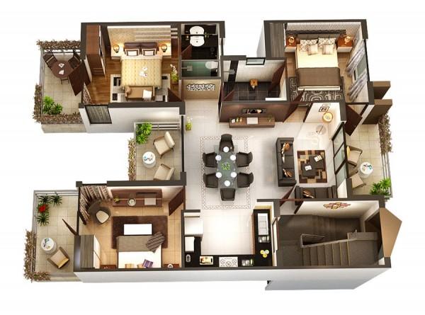 แปลนบ้าน 3 ห้องนอน